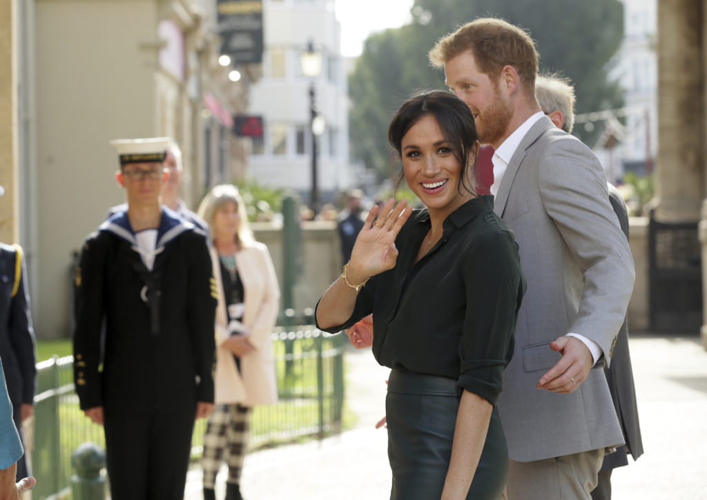 BRIGHTON, ENGLAND - OCTOBER 3: Meghan, Duchess of Sussex and Prince Harry, Duke of Sussex visit the Pavilion Building in Brighton during an official visit to Sussex on October 3, 2018 in Brighton England. The Duke and Duchess married on May 19th 2018 in Windsor and were conferred The Duke & Duchess of Sussex by The Queen. (Photo by Tim Ireland - WPA Pool/Getty Images)