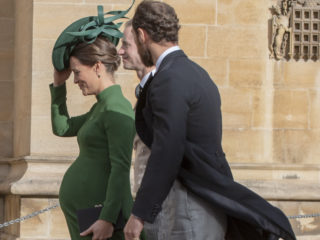 WINDSOR, ENGLAND - OCTOBER 12: Pippa Middleton attends the wedding of Princess Eugenie of York to Jack Brooksbank at St. George's Chapel on October 12, 2018 in Windsor, England.  (Photo by Mark Large - WPA Pool/Getty Images)