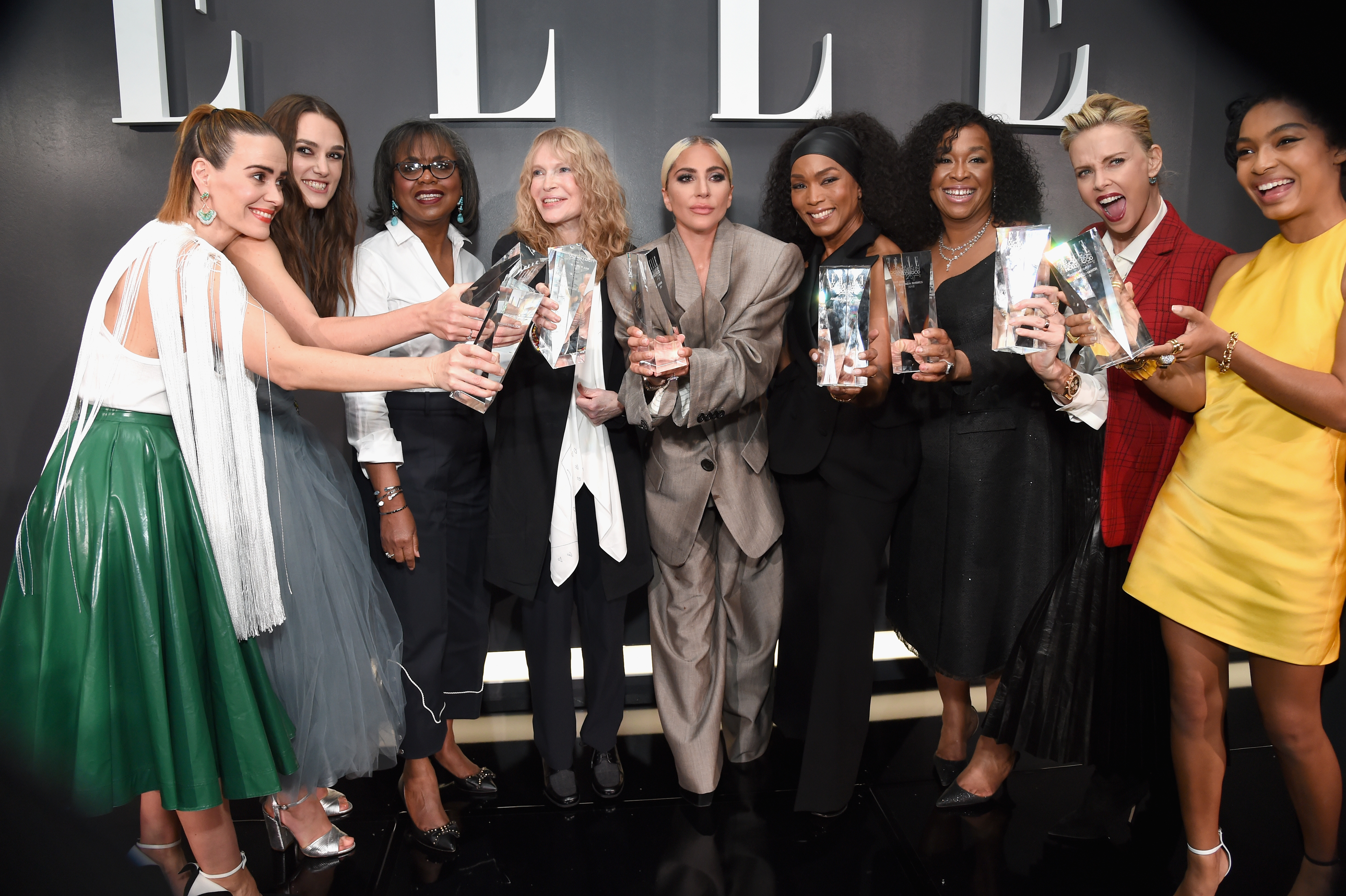 LOS ANGELES, CA - OCTOBER 15:  (L-R) Sarah Paulson, Keira Knightley, Anita Hill, Mia Farrow, Lady Gaga, Angela Bassett, Shonda Rhimes, Charlize Theron and Yara Shahidi attend ELLE's 25th Annual Women In Hollywood Celebration presented by L'Oreal Paris, Hearts On Fire and CALVIN KLEIN at Four Seasons Hotel Los Angeles at Beverly Hills on October 15, 2018 in Los Angeles, California.  (Photo by Michael Kovac/Getty Images for ELLE Magazine)