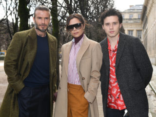 PARIS, FRANCE - JANUARY 18:  David Beckham, Victoria Beckham and Brooklyn Beckham attend the Louis Vuitton Menswear Fall/Winter 2018-2019 show as part of Paris Fashion Week on January 18, 2018 in Paris, France.  (Photo by Pascal Le Segretain/Getty Images)