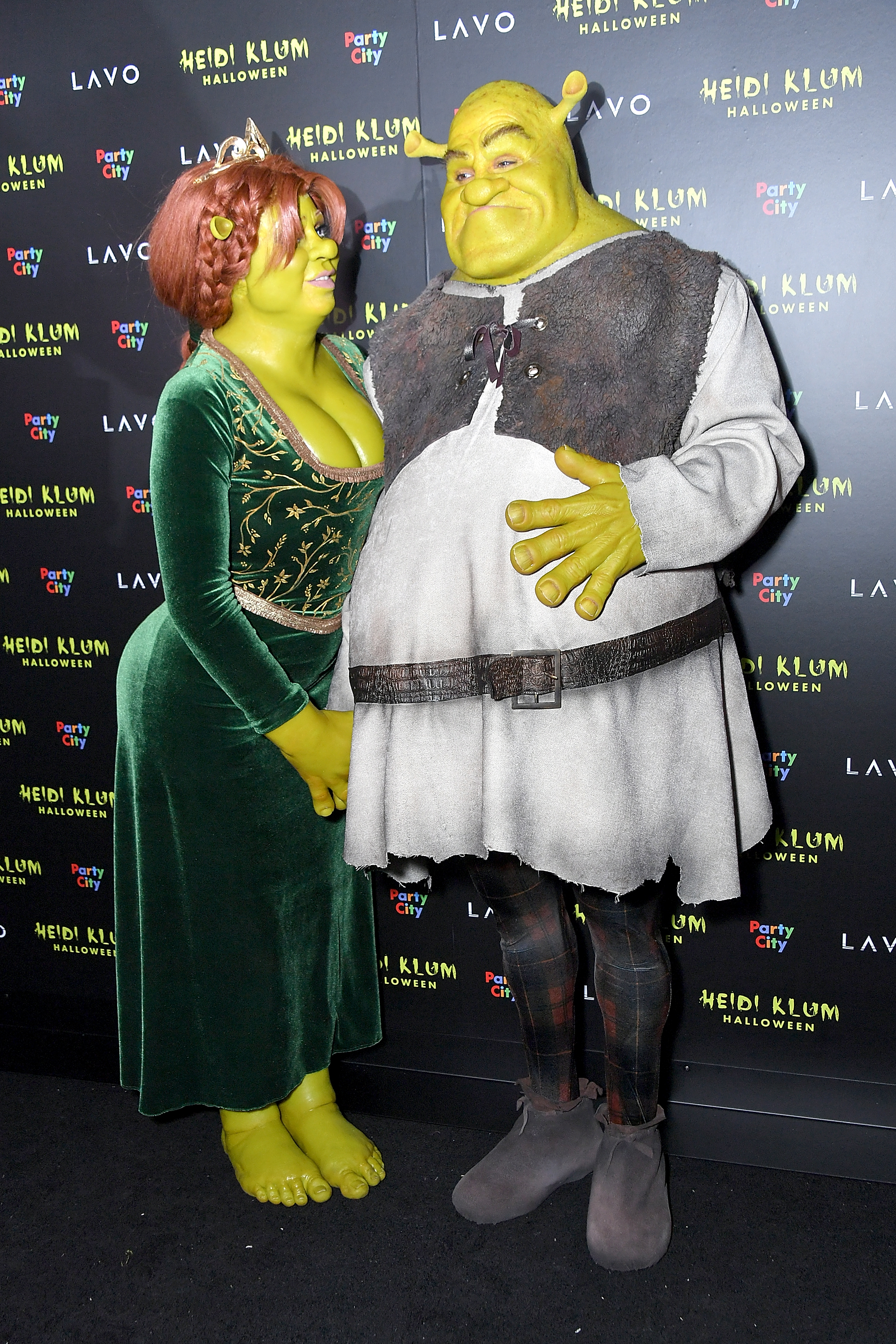 NEW YORK, NY - OCTOBER 31:  Heidi Klum and Tom Kaulitz show up dressed as Princess Fiona and Shrek to Klum's 19th Annual Halloween Party at Lavo on October 31, 2018 in New York City.  (Photo by Michael Loccisano/Getty Images)