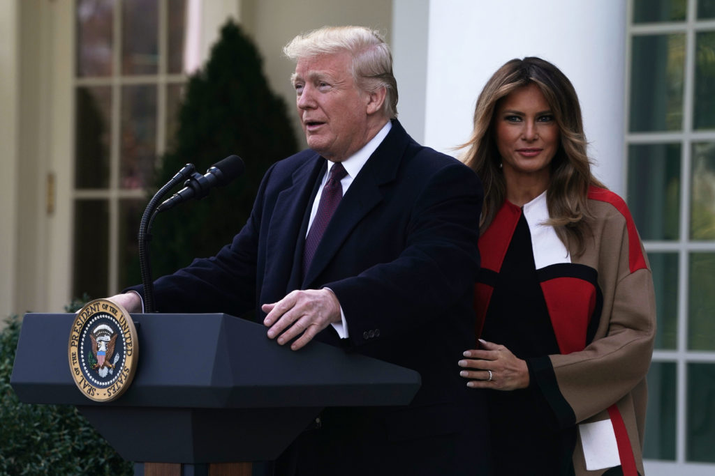 WASHINGTON, DC - NOVEMBER 20: U.S. President Donald Trump (L) and first lady Melania Trump (R) participate in a turkey pardoning event at the Rose Garden of the White House November 20, 2018 in Washington, DC. The two turkeys, Peas and Carrots, will spend the rest of their lives in a farm after the annual Thanksgiving presidential tradition today.   (Photo by Alex Wong/Getty Images)