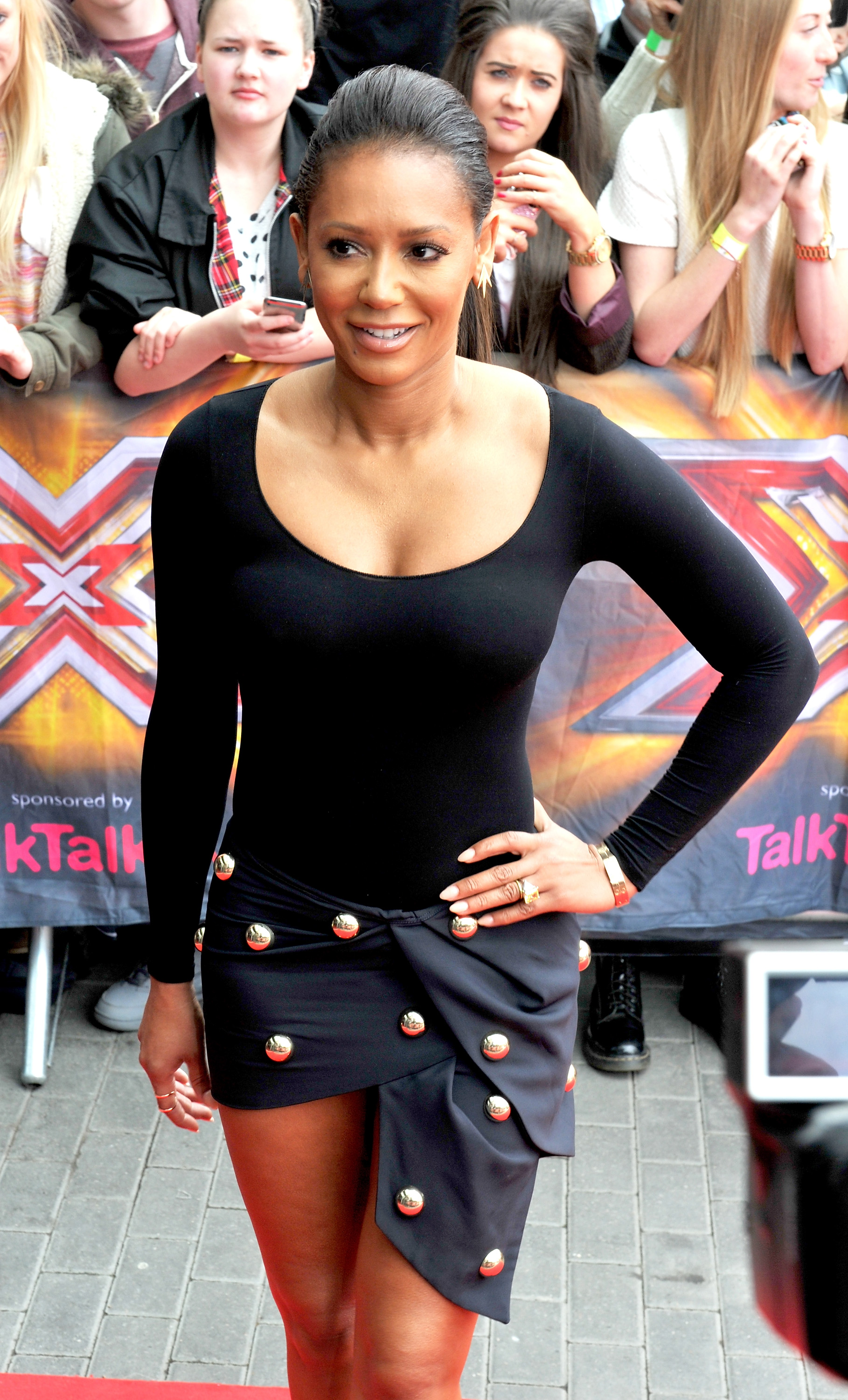 MANCHESTER, ENGLAND - JUNE 16:  Mel B arrives for the Manchester auditions of The X Factor at Lancashire County Cricket Club on June 16, 2014 in Manchester, England.  (Photo by Shirlaine Forrest/Getty Images)