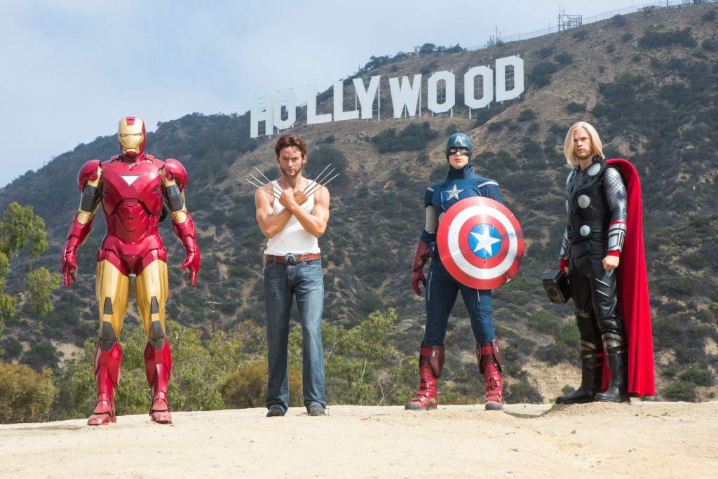 LOS ANGELES, CA - JUNE 24:  Legendary MARVEL superheroes conquer the iconic Hollywood sign to announce all new MARVEL superheroes 4D experience to open at Madame Tussauds Hollywood June 24, 2014 in Los Angeles, California.  (Photo by Ben Horton/Getty Images for Madame Tussauds Hollywood)