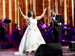 """NEW YORK, NY - APRIL 19:  Aretha Franklin performs onstage during the """"Clive Davis: The Soundtrack of Our Lives"""" Premiere Concert during the 2017 Tribeca Film Festival at Radio City Music Hall on April 19, 2017 in New York City.  (Photo by Theo Wargo/Getty Images for Tribeca Film Festival)"""