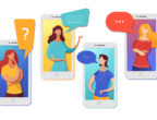 Friends chatting online flat vector illustration. Cartoon girls, women talking via mobile phones, smartphones isolated characters. Using modern digital technologies for personal communication