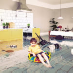 boy in the flooded room. Media elements mixed