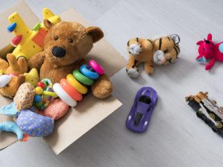 Teddy bear in box,vintage tone