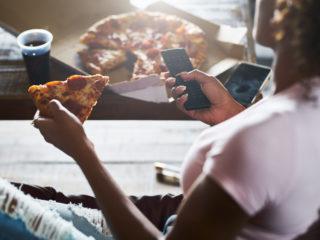 жена, диета, пица, кола, ядене