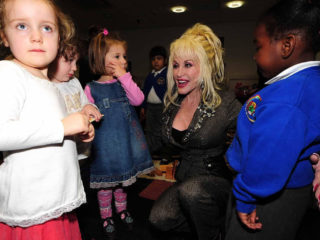 Country superstar Dolly Parton launches Imagination Library, her children's literacy scheme at the Magna Science Adventure Centre in Rotherham, South Yorkshire.   (Photo by Rui Vieira - PA Images/PA Images via Getty Images)