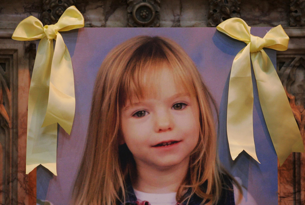 A photograph of Madeleine McCann during a prayer service at the St Andrew's R.C. Cathedral, Glasgow, held for the missing girl.   (Photo by Andrew Milligan - PA Images/PA Images via Getty Images)