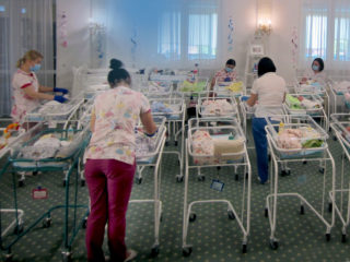 "10 June 2020, Ukraine, Kiew: In a hotel on the outskirts of the city, dozens of surrogate babies have been waiting to be picked up by their foreign biological parents since mid-March because of the borders closed during the coronavirus quarantine. In Ukraine, dozens of surrogate mother babies still cannot be picked up by their foreign parents due to corona restrictions. (to dpa ""Corona: Dozens of uncollected surrogate mother babies in Ukraine"") Photo: Andreas Stein/dpa (Photo by Andreas Stein/picture alliance via Getty Images)"