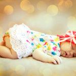Portrait of a beautiful sleeping baby. Soft focus.
