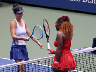 NEW YORK, NEW YORK - SEPTEMBER 09: Serena Williams (R) of the United States taps rackets with Tsvetana Pironkova (L) of Bulgaria after winning their Women's Singles quarterfinal match on Day Ten of the 2020 US Open at the USTA Billie Jean King National Tennis Center on September 9, 2020 in the Queens borough of New York City. (Photo by Al Bello/Getty Images)