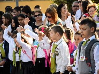 Children at school during the first day school day in Svilengrad, Bulgaria on September 15, 2015. It is the start of the school year for about 758.000 students in Bulgaria. The celebration have been organized in the town of Svilengrad situated at the border with Turkey and Greece. The number of the pupils from first grade is approximately 65.000. Every year students start attending classes on 15 September, as it is always by tradition Svilengrad, Bulgaria on September 15, 2015. (Photo by Hristo Rusev/NurPhoto) (Photo by NurPhoto/NurPhoto via Getty Images)