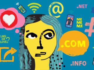 Influencer Girl blogging with smartphones and social media symbols, Female Influencer, Woman, Female, marketing, follower, Customer Engagement, posting, Facebook, Snapchat, TikTok, WhatsApp, Youtube, Blog, Instagram, online life, tags, Smartphones, Social Media Symbols, Grunge Texture