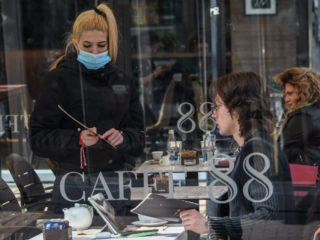 Waitress is taking orders at restaurant, after food and drinks establishments were open for the first time since November 27, 2020 in Sofia, Bulgaria 01 March 2021 (Photo by Georgi Paleykov/NurPhoto via Getty Images)