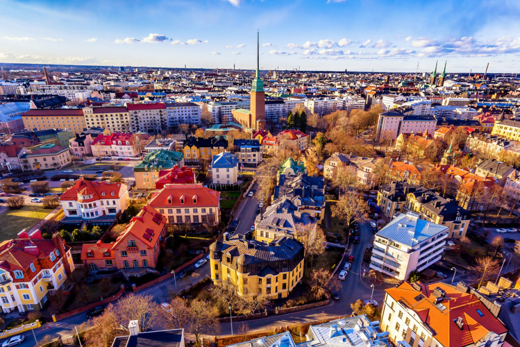 This picture shows how Helsinki city look from drone. The aerial view of helsinki shows thats it look vey colorful from sky.