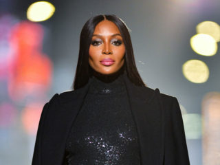 NEW YORK, NEW YORK - APRIL 08:  Naomi Campbell walks along 46th Street during the Michael Kors Fashion Show in Times Square on April 08, 2021 in New York City. (Photo by James Devaney/GC Images)