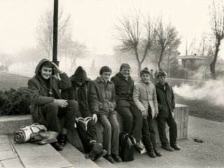 MOSCOW, SOVIET UNION - NOVEMBER 1983:  School boys sit on a wall in Moscow, the Soviet Union, in November, 1983. (Photo by Mikki Ansin/Getty Images)
