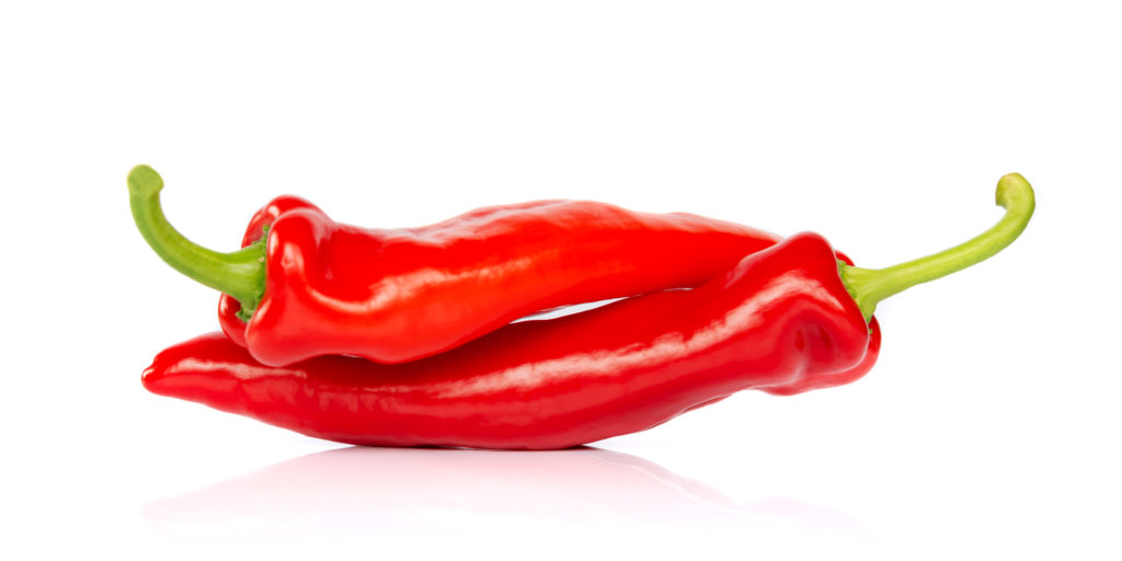 Two red hot chili pepper isolated on white background, looking like people having sex in 69 posture