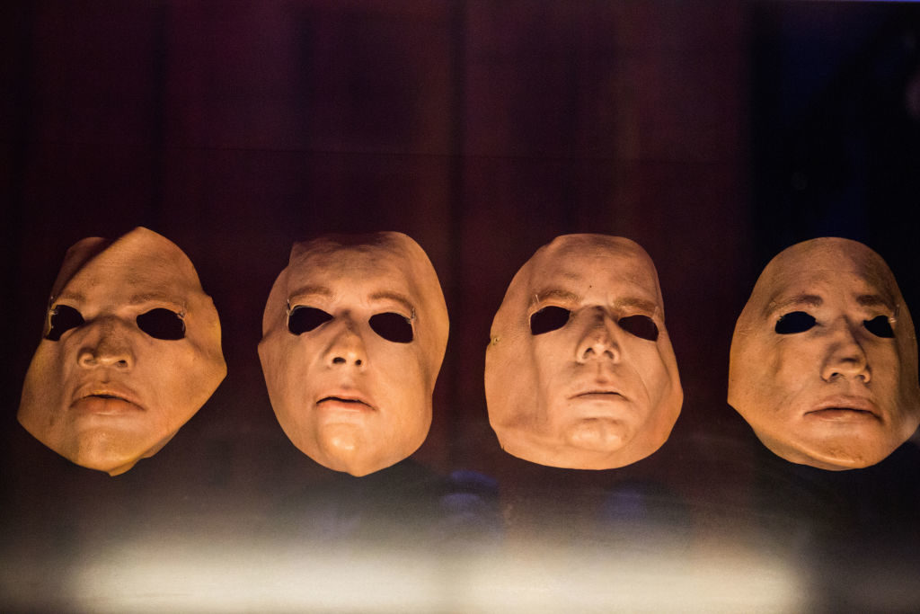 VICTORIA AND ALBERTMUSEUM, LONDON, UNITED KINGDOM - 2017/10/15: Band face masks from 'The Wall Live' issued in 1979 are seen during the Pink Floyd exhibition. The Pink Floyd exhibition were holds in London at Victoria and Albert Museum from 13 May 2017 to 15 October 2017. Visitors experienced a remarkable and unparalleled audio-visual journey from the beginning of the progressive music band until the present day by seeing their encounter costumes, music instruments, posters, artworks, sculptures, while watching videos and listening their music. Pink Floyd is an English progressive and psychedelic music band formed in London in 1965. (Photo by Rahman Hassani/SOPA Images/LightRocket via Getty Images)