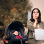 Forgetful Mother Holding Baby Bag Traveling  with Newborn